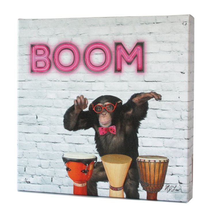 An original canvas art print by Chicago artist Matthew Lew featuring Milo, a monkey playing the bongos.