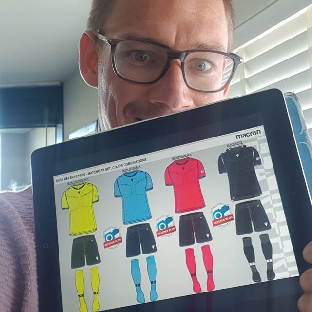 The New Macron Uefa 2019 2020 Referee Kits What Are Your Thoughts Check Out The Real Colours Via Link In Bio Referee Football Referee Colours