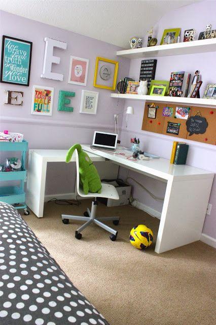Desk, shelving, cart, bulletin board, Es...forever*cottage: A room update for my high school girl....
