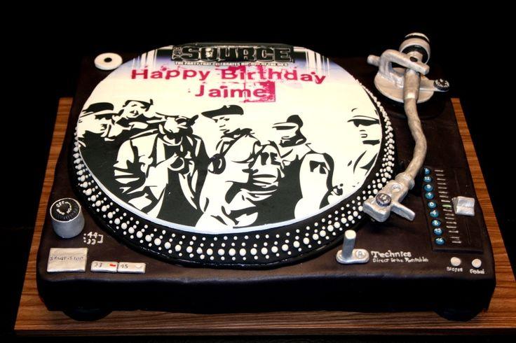 Turntable cake for 90's Hip Hop party theme, buttercream, fondant, edible image, gumpaste