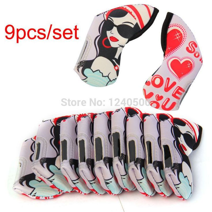 Free Shipping 9PCS/set Duplex Printing Golf Club Head Iron Headcovers Golf Clubs Head cover GM761