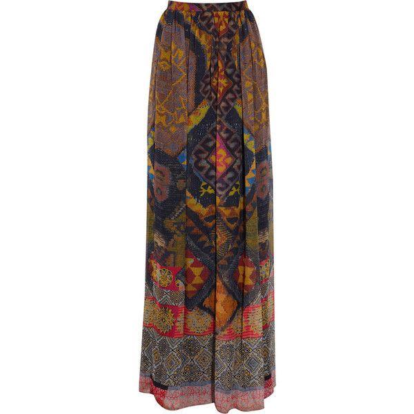 Etro Printed silk-chiffon maxi skirt (2 250 PLN) found on Polyvore