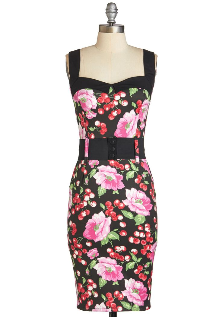 Cool Vibes Dress in Cherries. Bring a pop of playfulness to any bash with this printed sheath dress! #multi #modcloth