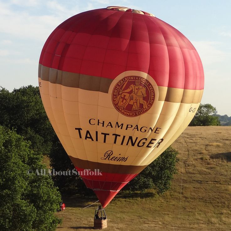 The Taittinger Champagne hot air balloon in the beautiful Suffolk countryside, just outside Woodbridge.