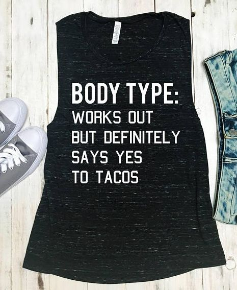 $24.95 | BODY TYPE Loves Tacos Workout Tank Top Marble, Women's Muscle Workout Tank Top, Workout Shirts, Tank Workout, Gym Tank, Workout Clothes, Gym, activewear, fitness apparel, fun tank top, #ad #WomenMuscle