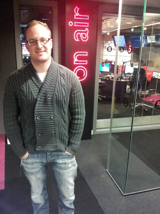 James outside bbc radio 5 live before talking about the startup loans scheme