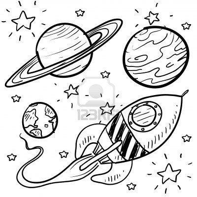 La ciencia ficción al estilo de dibujo Doodle conjunto en el Conjunto de formato vectorial incluye cohete retro y una gran variedad de planetas de dibujos animados Foto de archivo