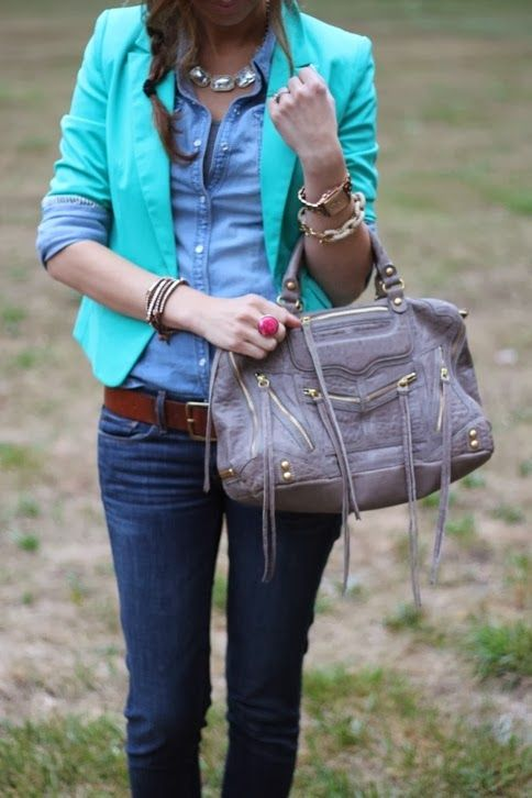 # STREET FASHION; Stylish Coat With Jeans With Handbag