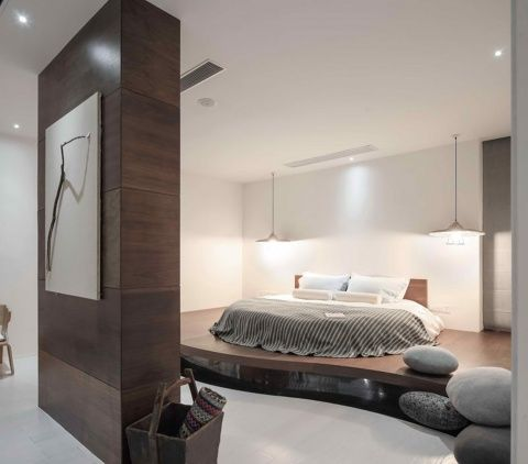 Ripple Hotel-Qiandao Lake - interior/bedroom: Hangzhou is historically considered to be a very romantic place. Ripple Hotel pays homage to this beautiful town by using natural materials to mimic the historic and natural context. The ripple motif can be seen all throughout the space su...