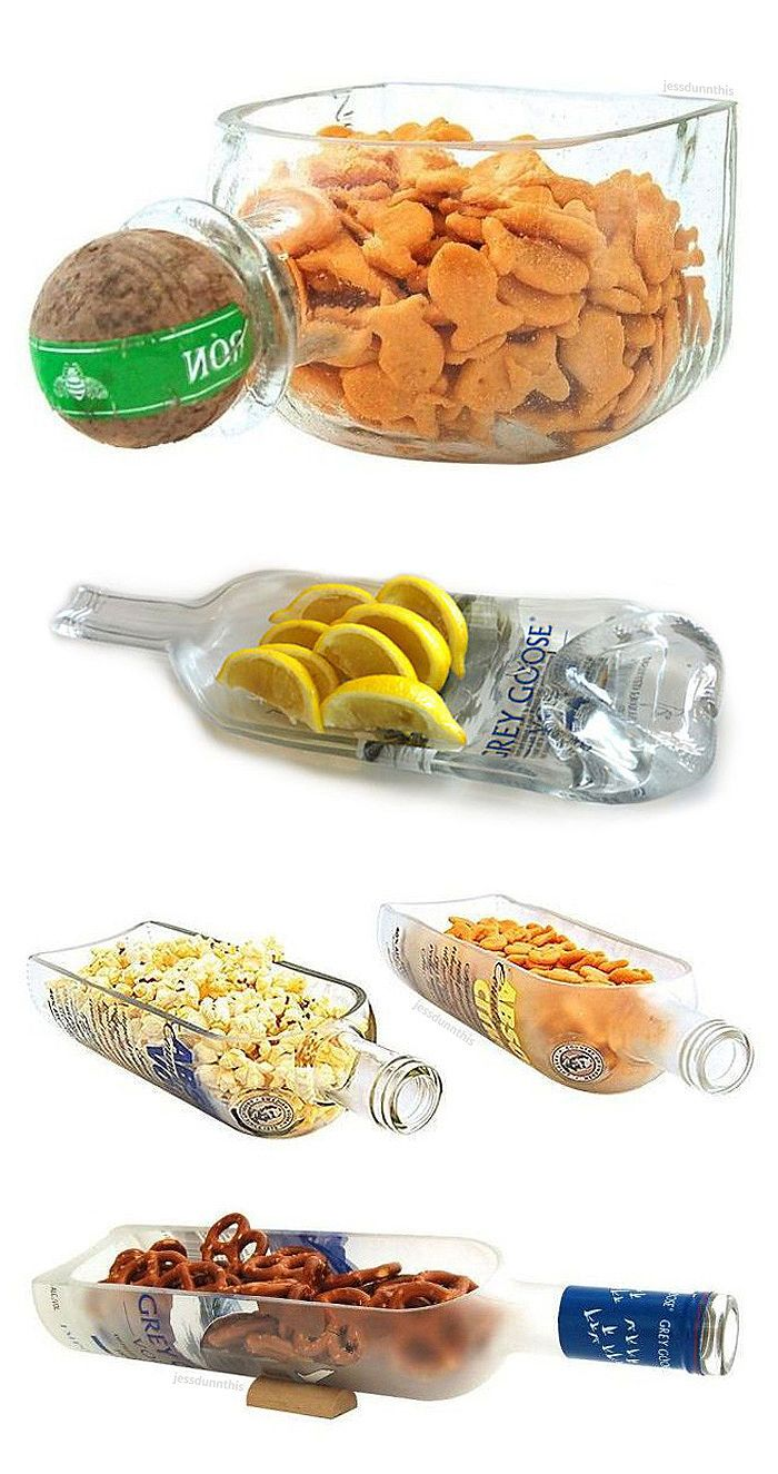 Liquor Bottle Snack Bowl - awesome recycling DIY idea for the mancave! #product_design (Liquor Bottle)