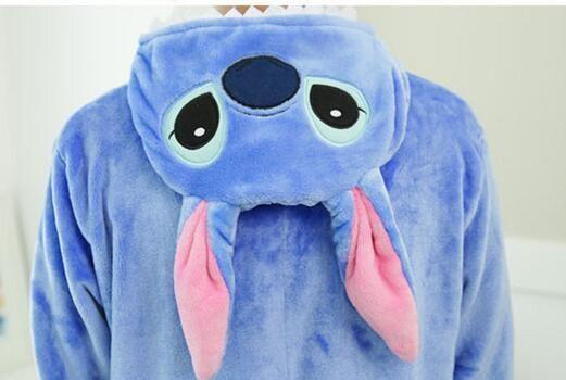 Lilo And Stitch Pajamas Anime Cosplay Costume Winter Flannel Hoodie Pajamas Adult Blue Pink Stitch Onesie Stitch Pajamas