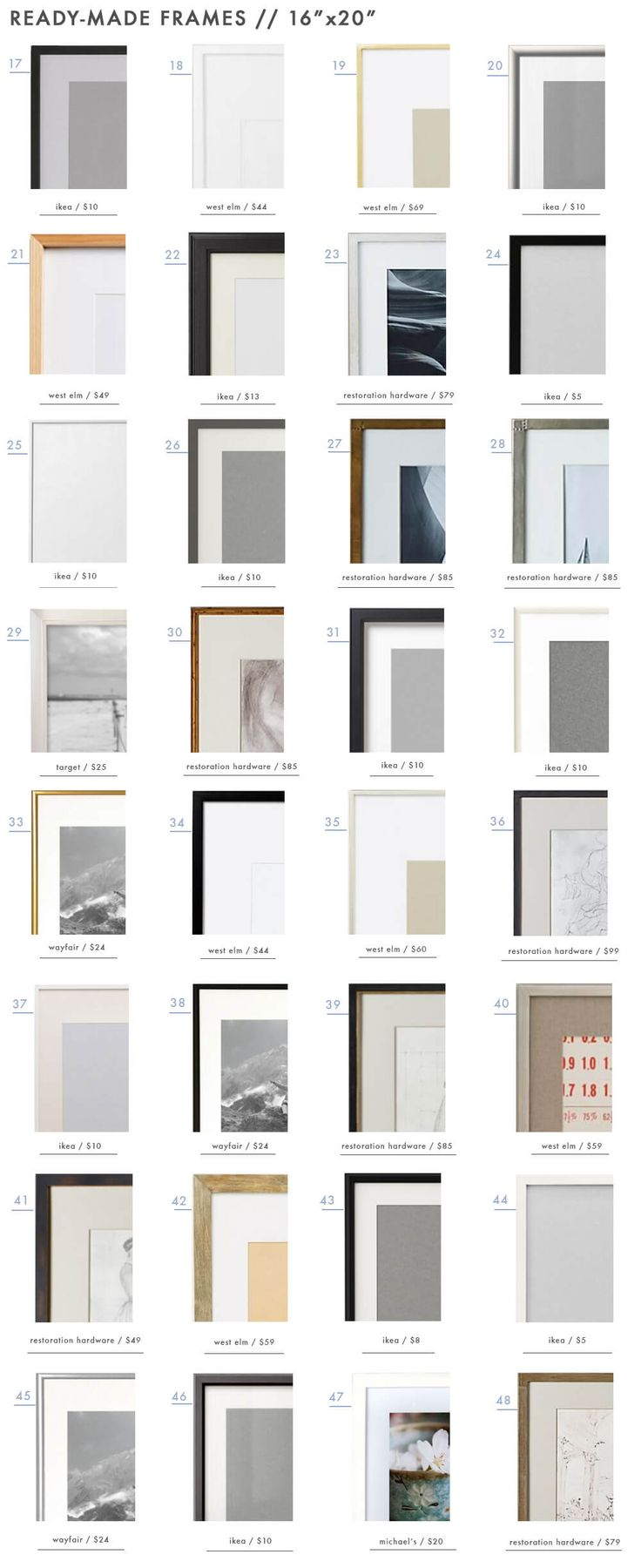 """128 Ready-Made Frames to Get You 'Gallery Wall Ready' - 16""""x20"""" Frames"""