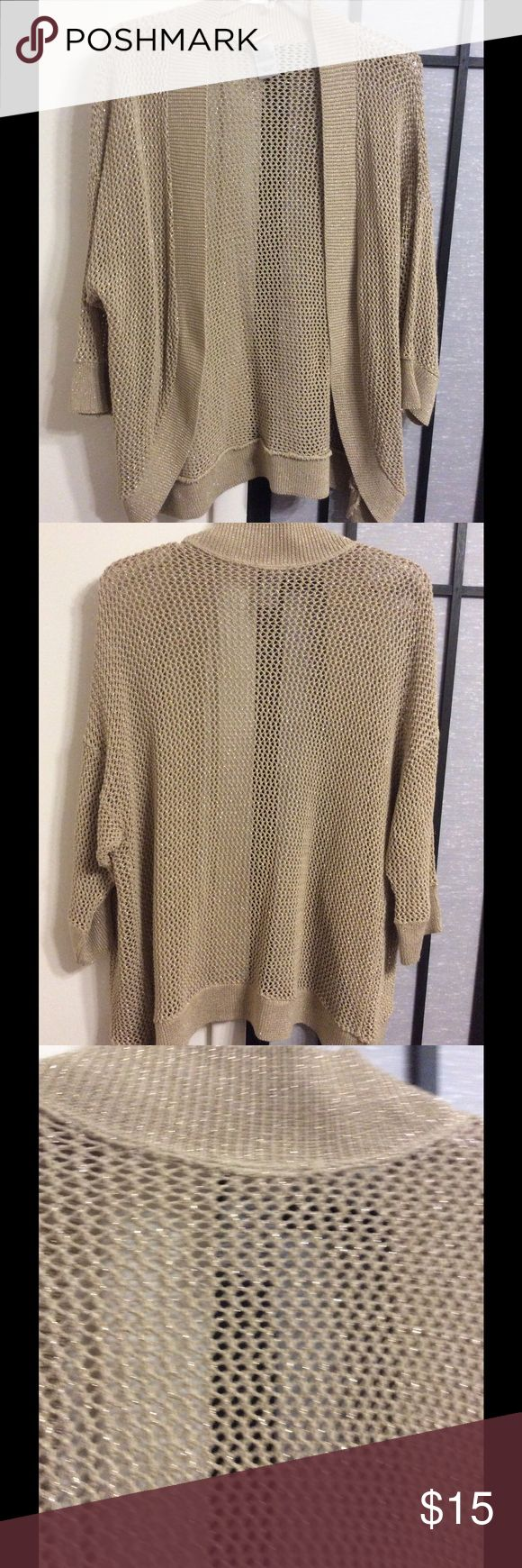Beige with golden strands cover-up/shawl Beautiful shawl, long and able to cover arms n bootie if you want to tone it down. Very dressy and yet simple. Faded Glory Sweaters Shrugs & Ponchos