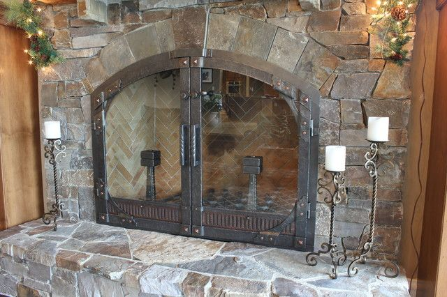 Kitchen Arched Fireplace Doors Living Pertaining To Awesome