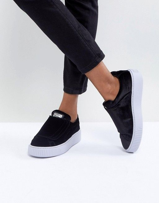 b8ba88a75fcc Puma Velour Strap Platform Sneakers In Black