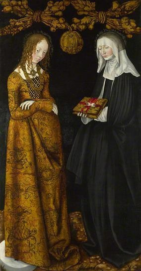"""Saints Christina and Ottilia"" from the St. Catherine Altarpiece triptych (reverse of the shutters), 1506, by Lucas Cranach the Elder (German, 1472-1553). Saint Christina of Bolsena stands on a millstone to which she was tied and thrown into a lake, but she miraculously survived because the stone floated. Her companion, Saint Ottilia of Alsace displays her eyes, to show her blindness was cured; she was a Benedictine nun."