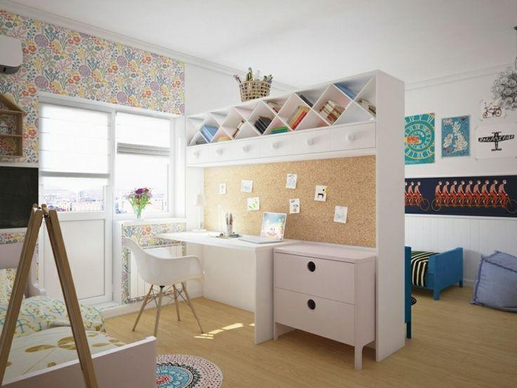 chambre design enfant partagée pour garçon et fille avec meuble de séparation