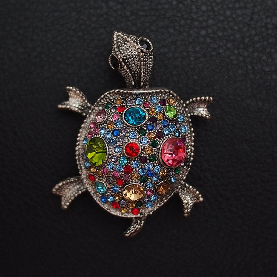 Decorated Turtle Charm by BlackPearlRain on Etsy, $24.95