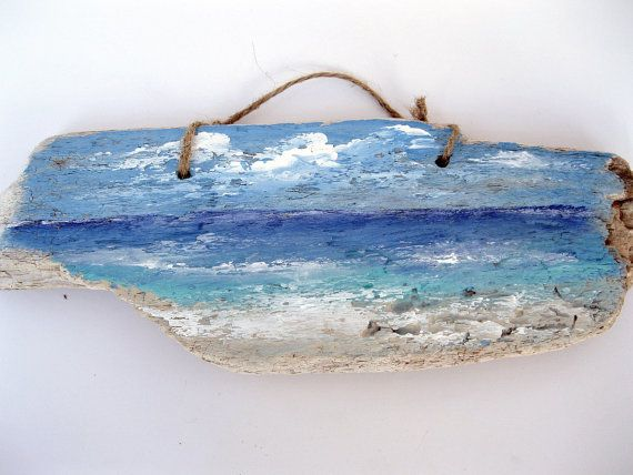 Lake Painting on Driftwood Painted Driftwood Lake by gardenstones, $22.10