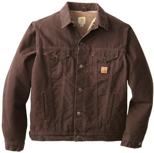 $51, Brown Denim Jacket: Carhartt Big Tall Sherpa Lined Sandstone Jean Jacket. Sold by Amazon.com. Click for more info: https://lookastic.com/men/shop_items/111706/redirect