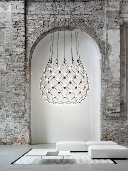 Unusual #alcove net-style pendant with pearl effect #lighting - Luceplan Mesh D86 Hanglamp zwart