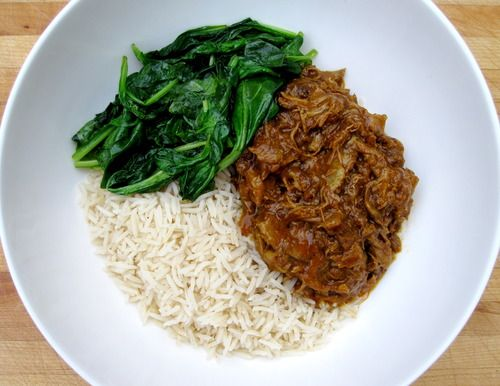 indian-spiced braised lamb w/ lamb neck bones/stew meat, onions, tomato paste, cardamom, ginger, cinnamon, tumeric, coriander & red pepper flakes