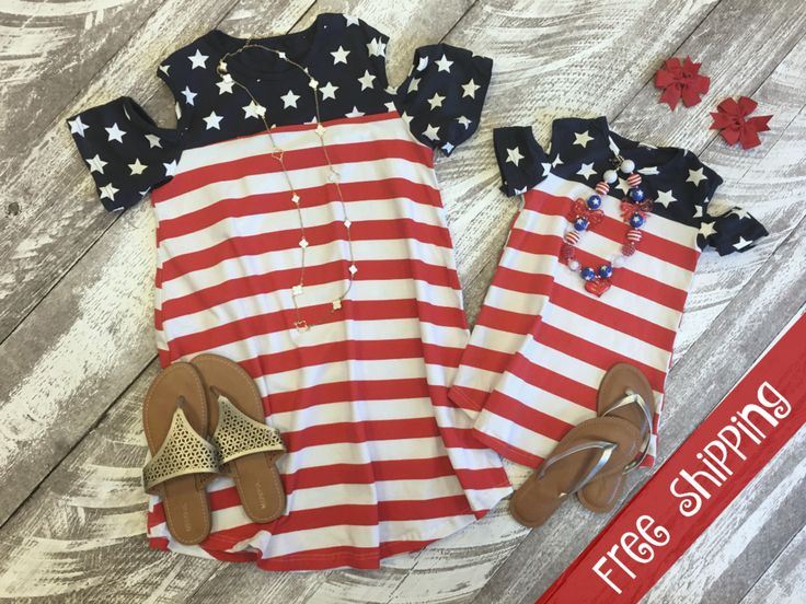 Open Shoulder Patriotic Dress:  from $14.99 and FREE SHIPPING!  The perfect summer Mommy & Me look!