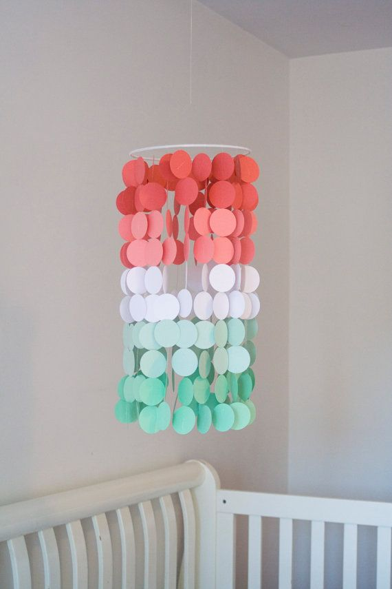 Coral and Mint Ombré Paper Crib Mobile by FourGlitteredGeese