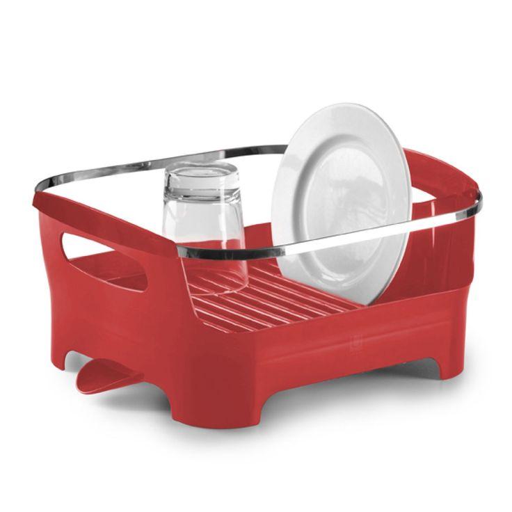 basin dish rack red
