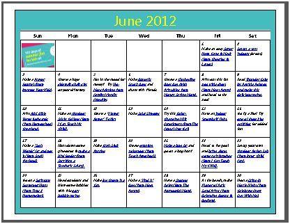 june activity calendar for kids
