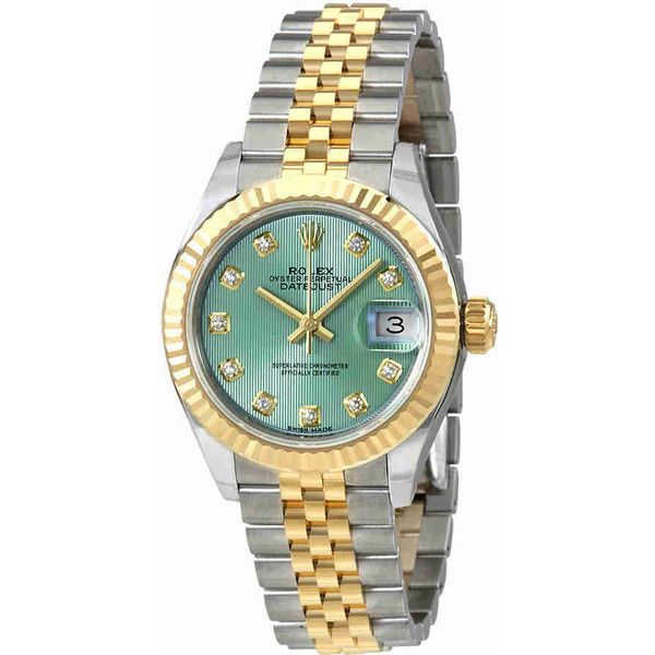 Rolex Lady Datejust Mint Green Diamond Dial Automatic Ladies Watch ($9,657) ❤ liked on Polyvore featuring jewelry, watches, rolex watches, diamond jewelry, mint watches, analog watches and mint green watches
