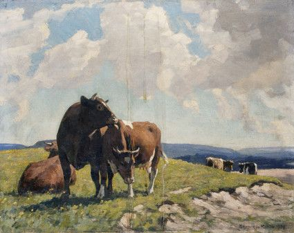 "Painting from the Fine Art collection. ""Downland"" by William Gunning King, showing cattle n a chalky hillside. 1939."