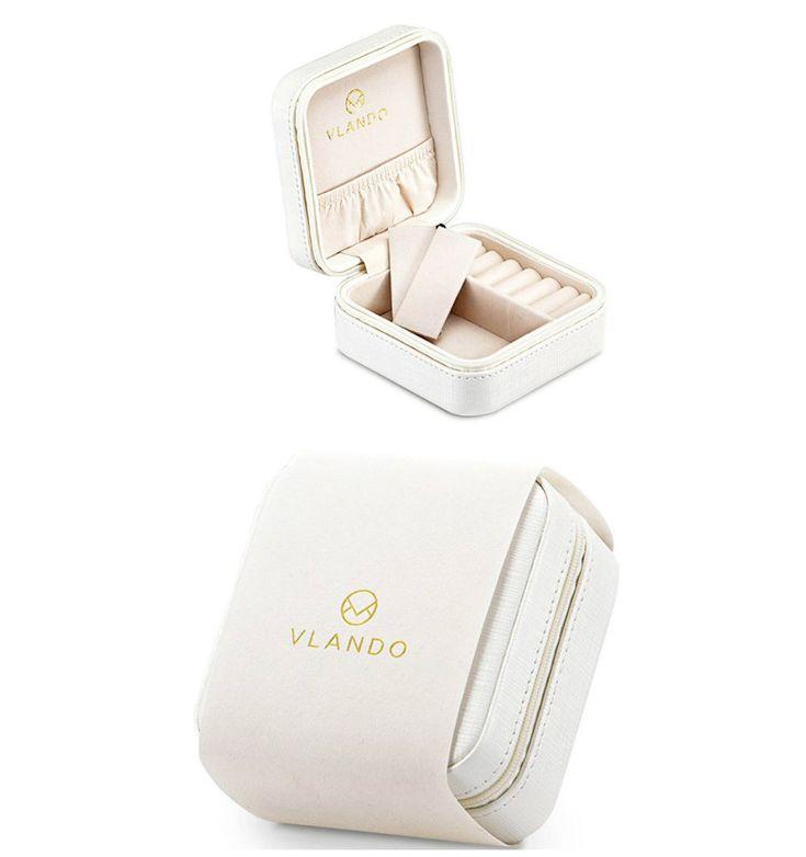 Small Jewelry Box Travel Organizer Display Leather Ring Storage Case Gift White #TravelJewelryBoxesOrganizers