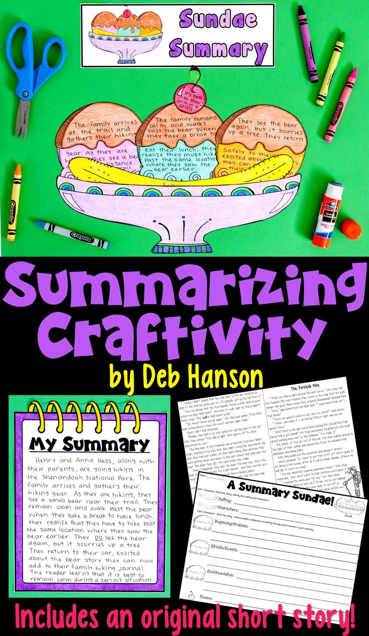 This is an engaging summarizing activity where your students read an original short story. After they have finished reading, students identify the characters, setting, beginning/problem, middle/events, end/resolution, and theme on the individual pieces of the sundae. Finally, students use their pieces to write a complete summary!