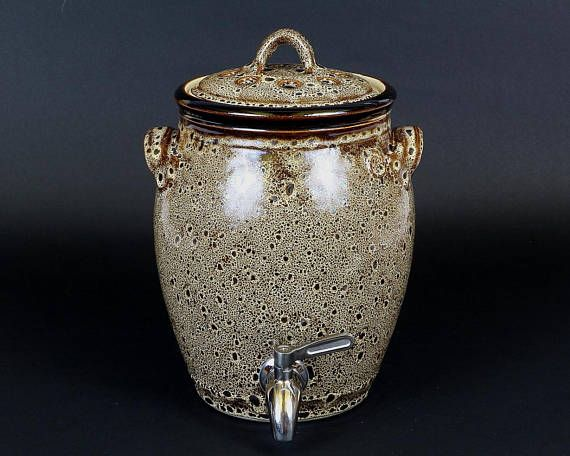 Kombucha Crock Ceramic 1 Gallon Crock With Stainless Steel Spigot In Speckled Hen Glaze House Gifts House Warming Gifts Ceramics