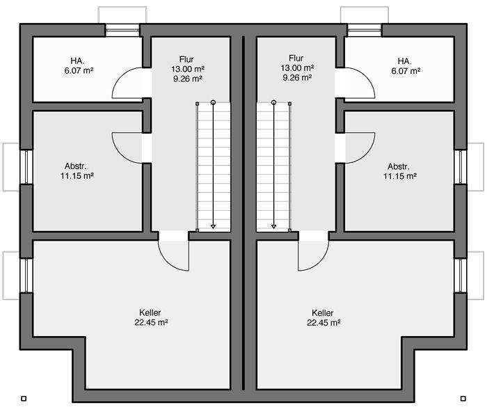Fertighaus Doppelhaus Gemello PD 212 Grundriss KG