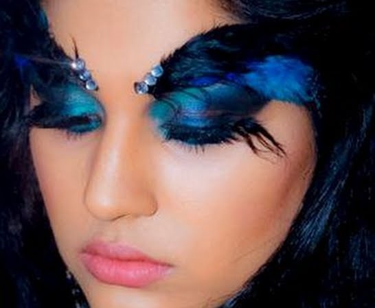 Makeup Tutorial Dramatic Blue Eye With Feather Eyebrows How To Create