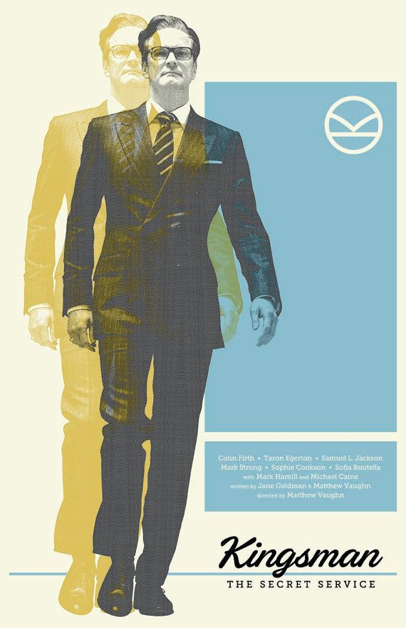 Kingsman Film Poster  This is an original poster designed by me, the artist. Digitally printed on 80lb matte card stock. 11x17 inches.  Frame NOT included.  Will be shipped in a protective tube.  *All of my prints are based on illustrations made by me. Theyre not to be copied, re-distributed, imitated, or misappropriated in any way.