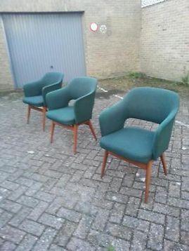 ≥ Fraaie set 3 vintage DEENS DESIGN eetkamer stoelen jaren '60 - Stoelen - Marktplaats.nl