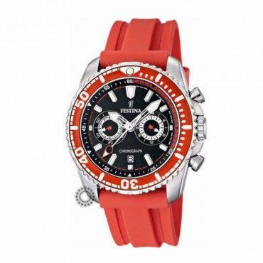 F16574/5 Ανδρικό στεγανό σπορ quartz ρολόι FESTINA χρονογράφος, με μαύρο καντράν & κόκκινο καουτσούκ | Ανδρικά ρολόγια FESTINA ΤΣΑΛΔΑΡΗΣ στο Χαλάνδρι #Festina #χρονογραφος #κοκκινο #σιλικονη #ρολοι
