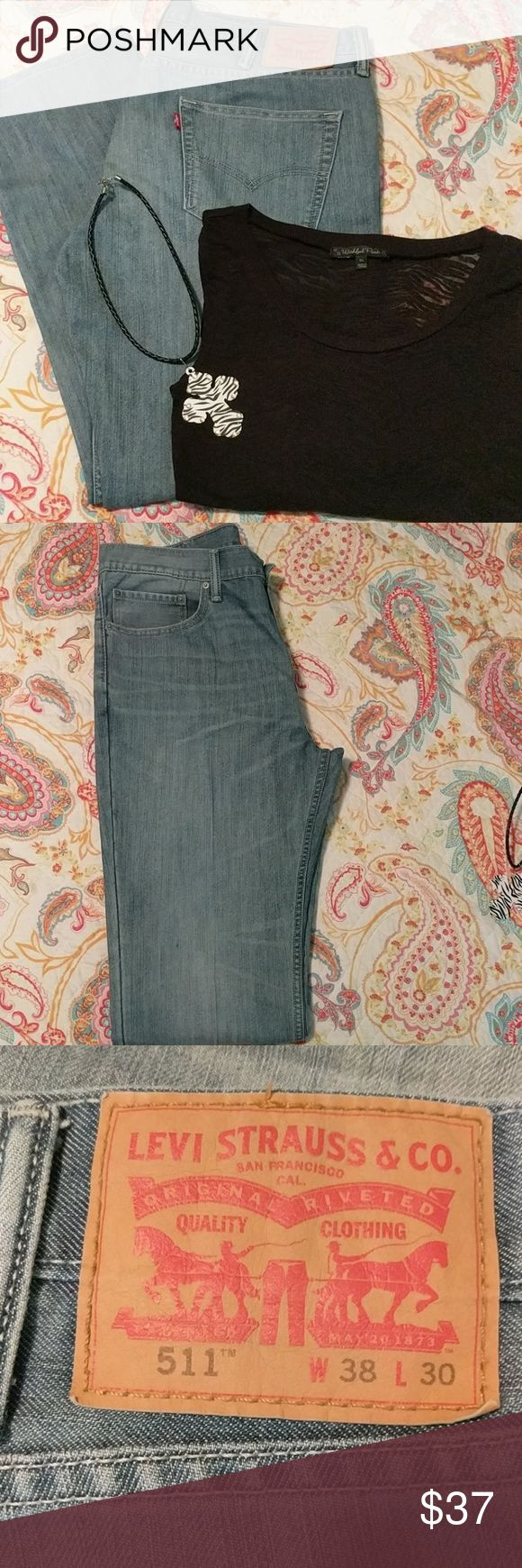 Levi jeans #511 Light wash denim jeans, very gently used. No scuffing at the seams, looks new! Levi's Jeans