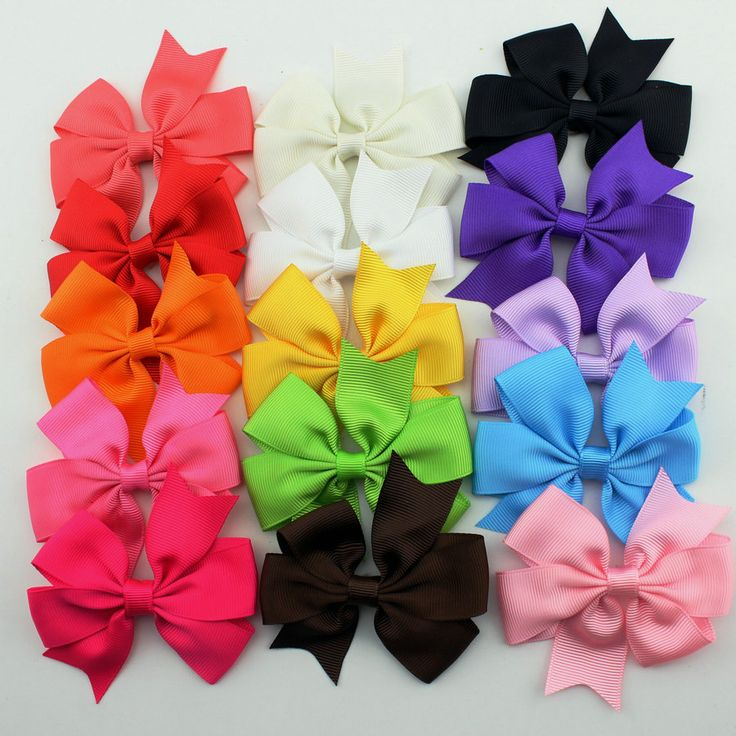15pcs/set grosgrain hair ribbon  bow baby hairbow girl boutique bow  with clips barrette   children hair accessories