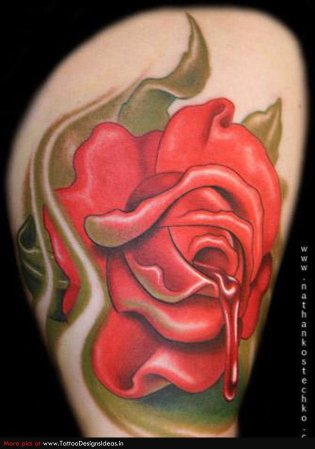 dripping blood unusual touch flower tattoos