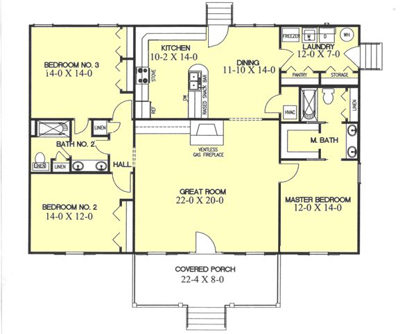 Beautiful Country Style House Plans   1700 Square Foot Home, 1 Story, 3 Bedroom And
