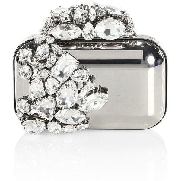 Jimmy Choo Cloud Crystal-Embellished Metallic Clutch ($4,995) ❤ liked on Polyvore featuring bags, handbags, clutches, jimmy choo, white purse, clasp purse, clasp handbag and white hand bags