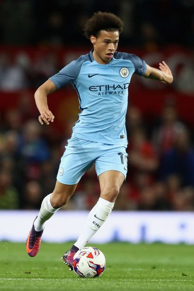 Leroy Sane of Manchester City runs with the ball during the EFL Cup Fourth Round match between Manchester United and Manchester City at Old Trafford on October 26, 2016 in Manchester, England.