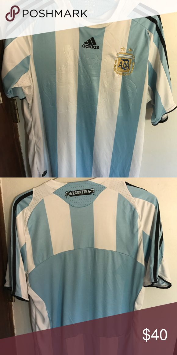 Argentina Soccer Jersey - Original Jersey Argentina National Team Jersey. Real, not replica. Size M. It is in very good condition. Only wear it 1-2 times for Argentina Games. adidas Shirts Tees - Short Sleeve