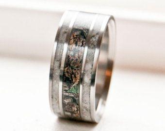 Mens Wedding Band Elk Antler & Camo Ring by StagHeadDesigns