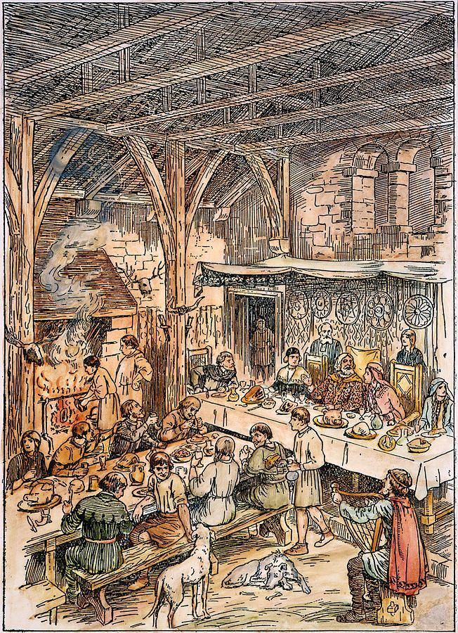 Medieval dining hall with bard providing entertainment ...