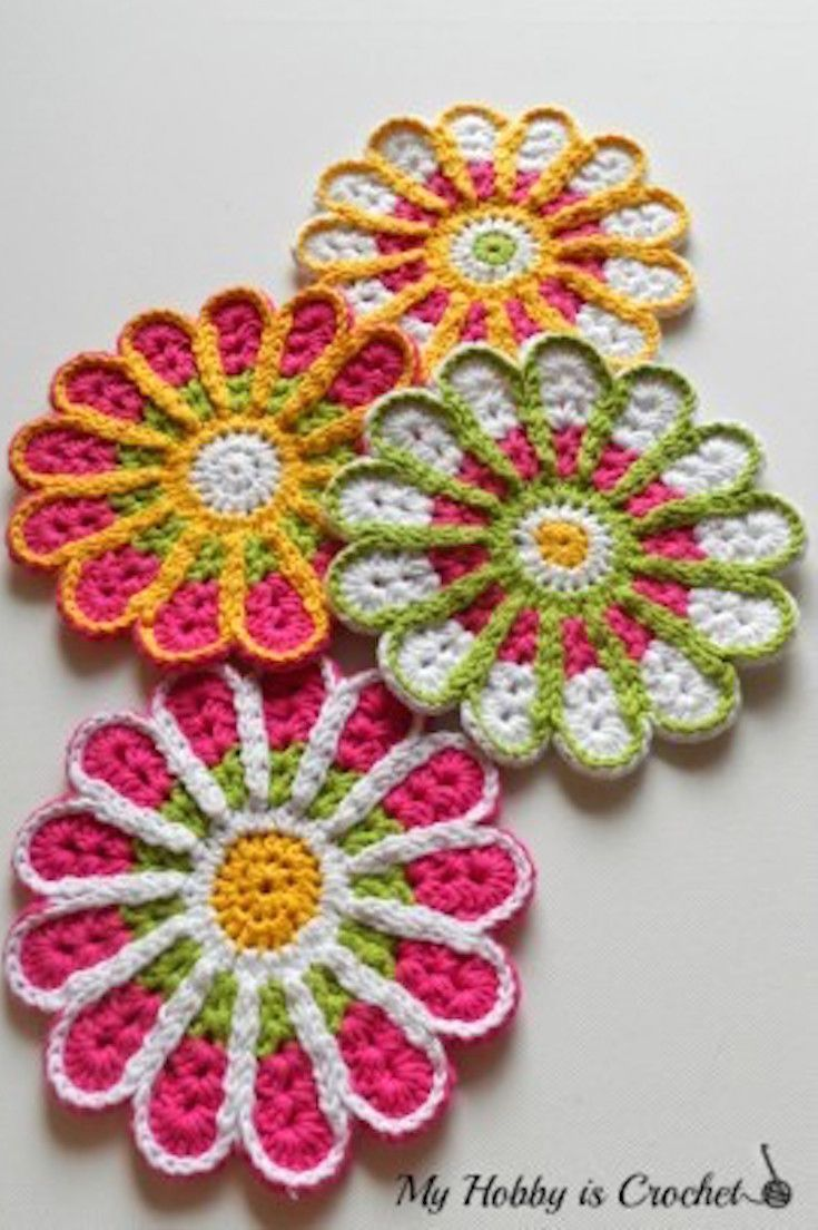 Free Crochet Pattern Flower Coasters Chrysanthemum